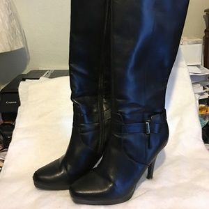 Faux Leather Tall High Heel Boots Black 9 1/2